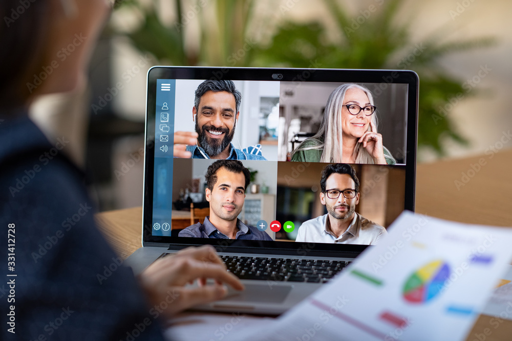 Fototapeta Smart working and video conference