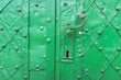 Leinwanddruck Bild - Vintage ornament of green color, part of the iron door of medieval castle