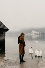 Young Woman Alone At A Lake With Swans