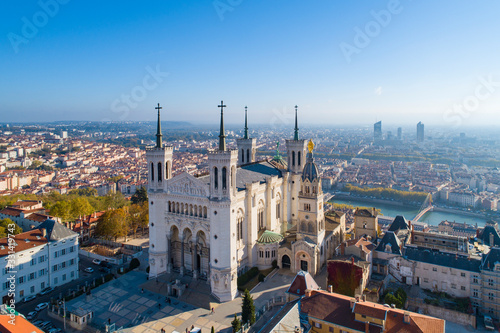 Leinwand Poster Lyon, Aerial view of Notre Dame de Fourviere Basilica