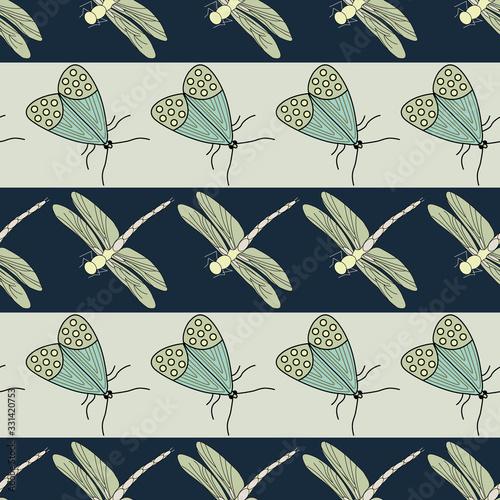 Vector Green Yellow Dragonflies and Moths on Blue Brown Stripes Seamless Repeat Pattern Tapéta, Fotótapéta