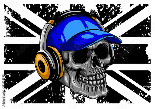 Skull and Flag Great Britain. vector illustration Tablou Canvas