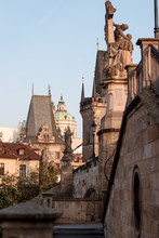 Stairs To The Charles Bridge In Sunny Weather