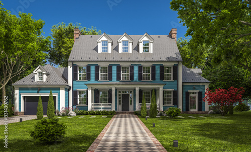 Fotografie, Obraz 3d rendering of modern cozy classic house in colonial style with garage and pool for sale or rent with beautiful landscaping on background