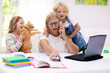 canvas print picture - Mother working from home with kids. Quarantine.