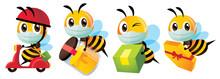 Cartoon Cute Bee Wearing Prote...