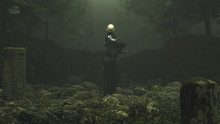 Black Futuristic Samurai Demon Standing In Rocky Forest Clearing With 2 Gravestones Swords 3d Illustration 3d Render
