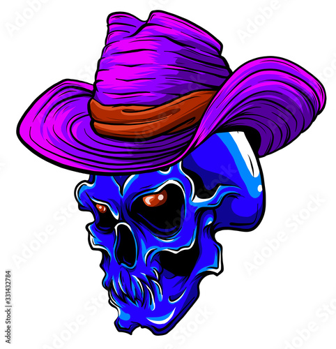 Valokuvatapetti Vector skull pimp with hat illustration on white background