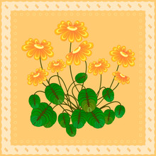 Orange Flowers On Long Thin Stems With Rounded Green Leaves Of Different Shades On A Yellow Background Decorated With A Curly Border