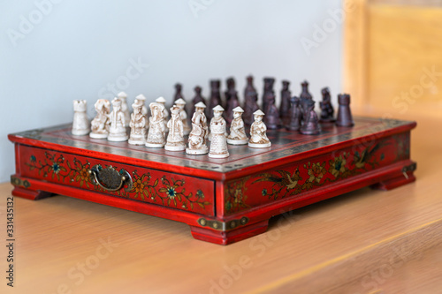 Stampa su Tela Beautiful army miniature Chinese red chess board game made from small wood carvi