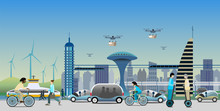 Renewable Electrified City Transport Concept In Near Future. Driverless Vehicles And Drones For Light Deliveries. Electric Bikes, Monorail Trains And Self-Balancing Electric Transporter.