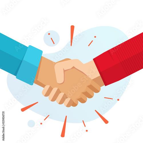 Stampa su Tela Hand shake hands or handshake vector flat cartoon illustration isolated, concept