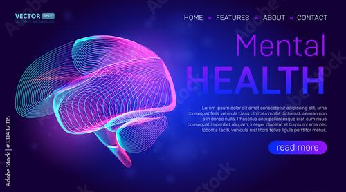 Fotografía Mental health landing page background concept or hero banner design with human brain outline vector illustration