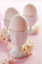 Easter Egg Holder Decorated With Hyacinth Flowers In Pastel Pink Color Close Up