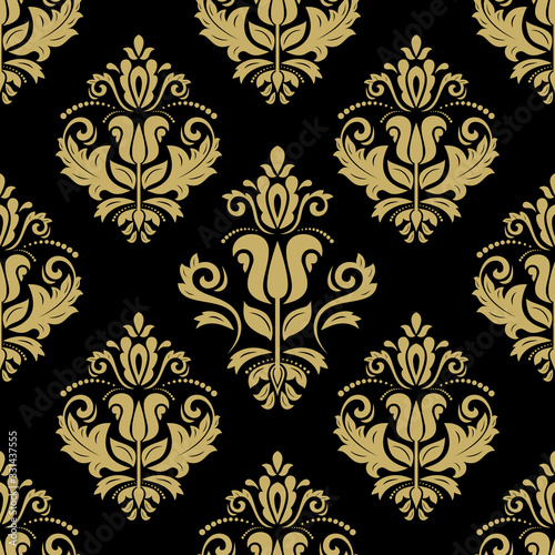 Oriental vector fine texture with damask and floral elements. Seamless abstract background. Black and golden pattern