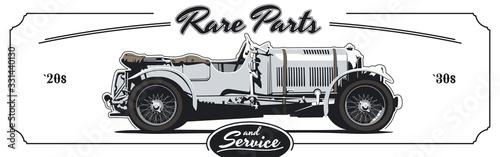Retro poster with vintage sport car. Vector illustration.
