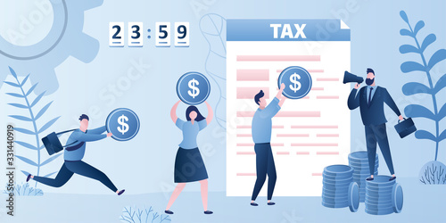 Fototapeta Tax form document, businesspeople pay taxes