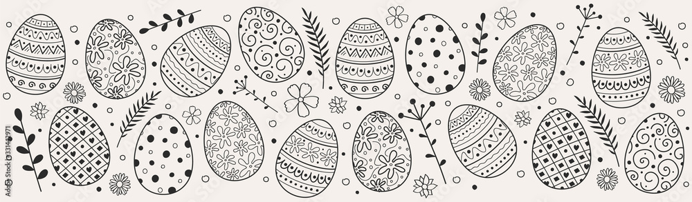 Fototapeta Beautiful Easter eggs - decoration. Vector