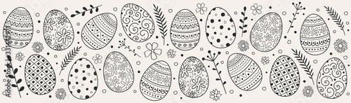 Beautiful Easter eggs - decoration. Vector Canvas Print