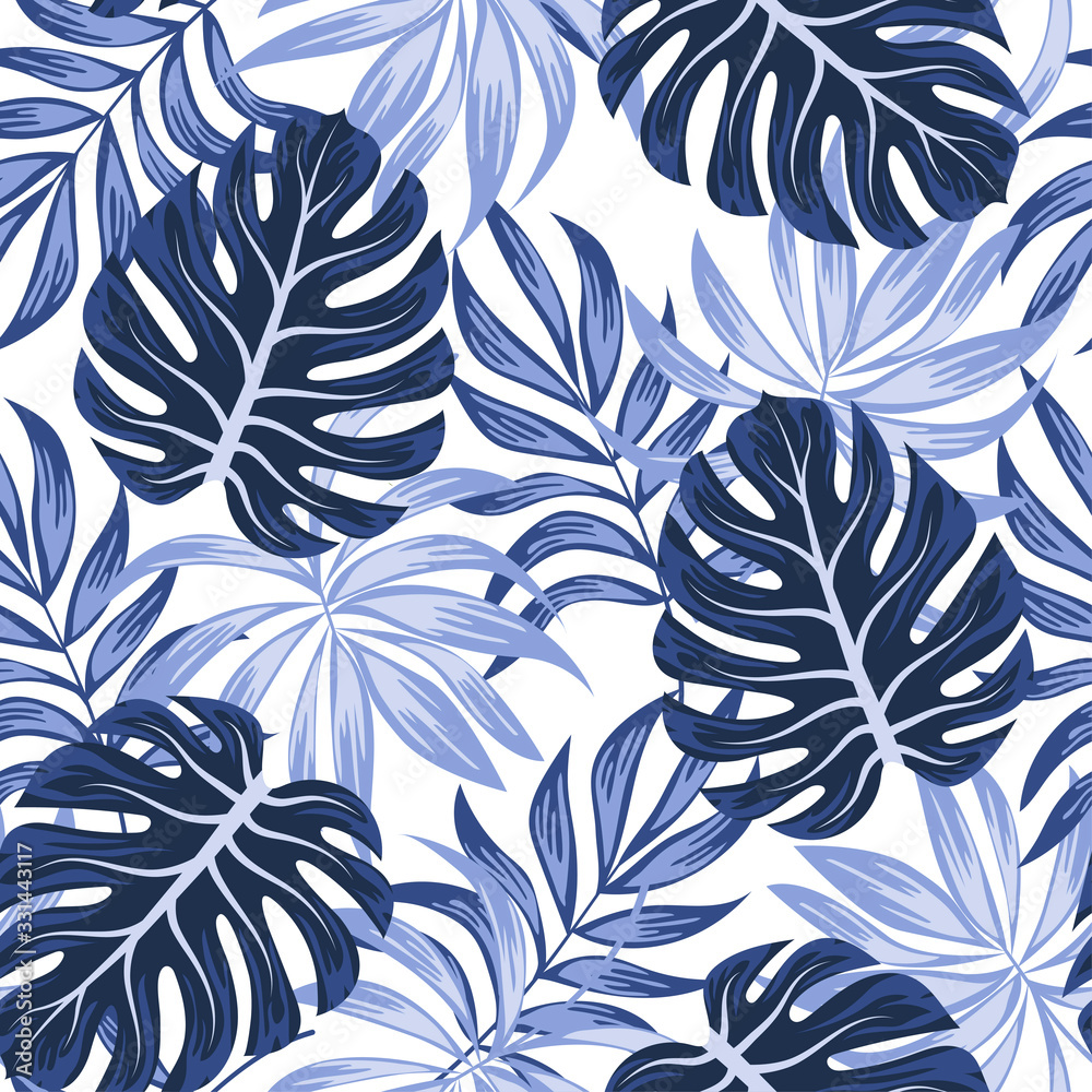 Fototapeta Abstract seamless tropical pattern with bright plants and leaves on a white background. Summer colorful hawaiian seamless pattern with tropical plants. Trendy summer Hawaii print.