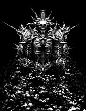 A Sinister Lord Necromancer, Consisting Of Many Bones And Spikes, On His Head He Has Something Like A Crown, In His Chest A Sinister Mouth With Terrible Fangs. 2D Illustration