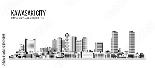 Cityscape Building Abstract Simple shape and modern style art Vector design - Kawasaki city