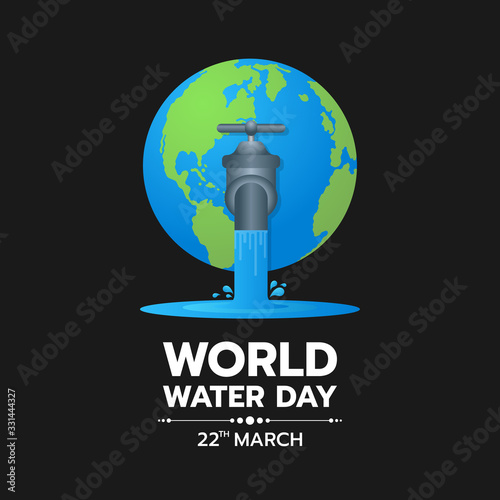 world water day banner Water flows from the tap on the earth on dark blue background vector design