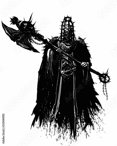 Fotomural A terrible Ghost executioner, with a skull on his shoulders, imprisoned in a cage for torture, in his hands he has a huge axe hung with various junk, spikes, skulls, chains