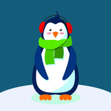 Blue Cartoon Pinglin In Red Headphones And A Green Scarf On A Dark Blue Background Stands On Ice Vector