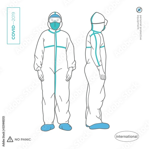 Doctor, nurse, a man in a full body protective suit. Personal protective equipment against viruses and pesticides. 2019 Novel Coronavirus. 2019-nCoV. Covid-19. Wall mural