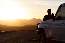 Man And 4x4 Sunset Silhouette