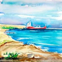 Beautiful Sea Side, Watercolor...