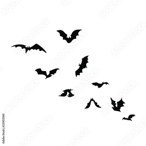 Flying bat silhouettes one of the best decoration for autumn loving halloween holiday party Wallpaper Mural