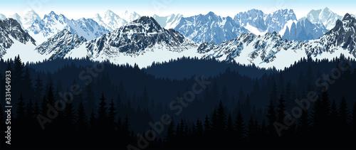 Photo vector seamless Alaska Mountain with woodland background illustration