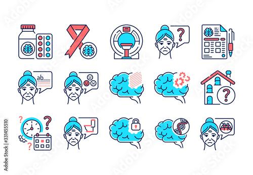 Brain disease dementia line color icons set Canvas Print