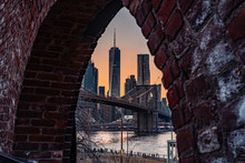 Brooklyn Bridge As Seen From Dumbo At Sunset