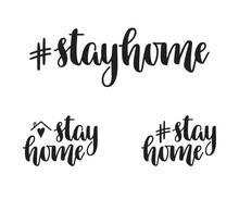Stay Home Hand Lettering. Hash...