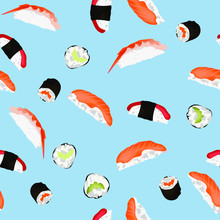Sushi And Rolls Pattern On A B...