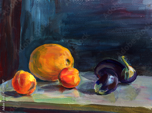 Fototapeta Still life  with acrylic painting of ripe peach, orange melon,  violet eggplants on table on blue background. Hand painting texture, beautiful design for interior, banner, print, decoration obraz