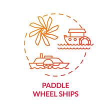 Paddle Wheel Ship Red Concept Icon. Vintage Steamship. Retro River Boat. Steamer Ship. Water Vessel. Steamboat Idea Thin Line Illustration. Vector Isolated Outline RGB Color Drawing