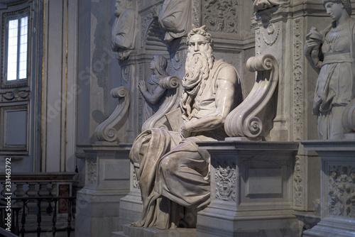 Cuadros en Lienzo Moses sculpture by Michelangelo in San Petrio in Vincoli, Rome, Italy