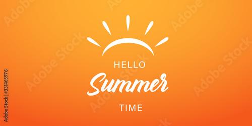 Fototapeta Summer time vector banner or poster on gradient yellow background. Vector illustration. Hello summer banner. obraz