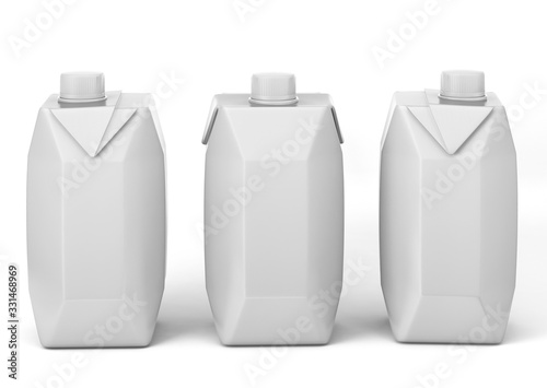 Foto Blank White Tetra Packet Carton Juice & milk pack White Realistic Rendering for mock up template design