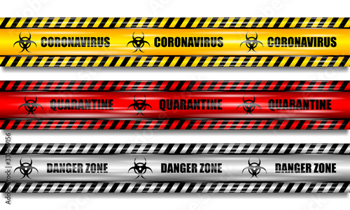 Coronavirus (2019-nCOV), realistic seamless yellow, red and white security tapes Canvas Print