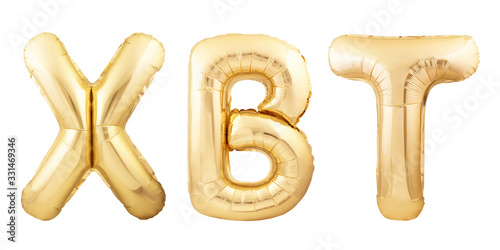 XBT abbreviation for Bitcoin made of golden inflatable balloons isolated on whit Tapéta, Fotótapéta
