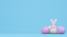 Easter Eggs With Rabbit Ears A...