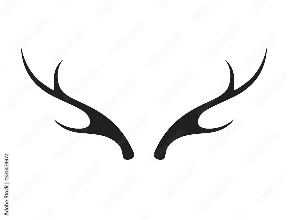 Fotografie, Obraz Deer antler ilustration logo vector template
