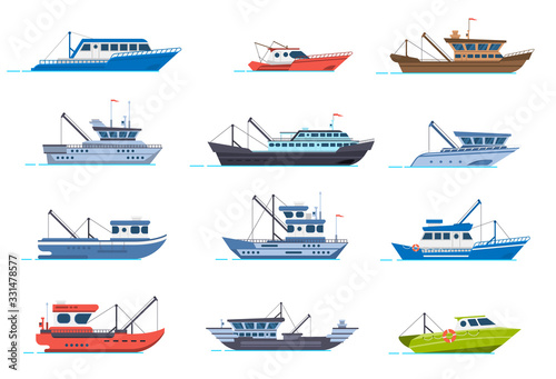 Fototapeta Fisherman boats. Fishing commercial ships, fisher sea boat for ocean water, shipping seafood industry boat isolated vector illustration set. Sea fishing, ship marine industry, fish boat obraz