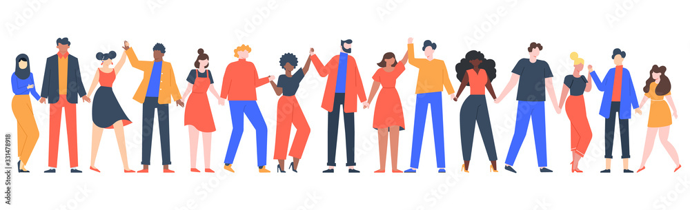 Fototapeta Group of smiling people. Team of young men and women holding hands, characters standing together, friendship, unity concept vector illustration. Group people woman and man standing