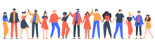 Group Of Smiling People. Team Of Young Men And Women Holding Hands, Characters Standing Together, Friendship, Unity Concept Vector Illustration. Group People Woman And Man Standing